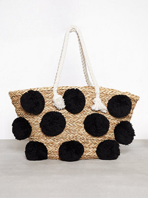 Glamorous Ladies Pom Pom Bag Black Creme