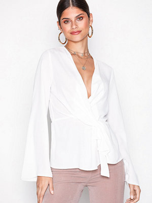 Missguided Drape Front Plunge Blouse White