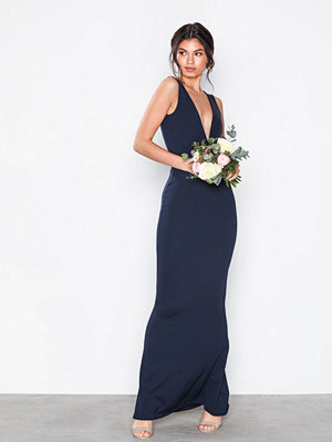 Missguided V-Neck Plunge Maxi Dress Navy