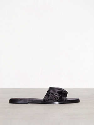 Topshop Heartbreaker Ruched Sliders Black