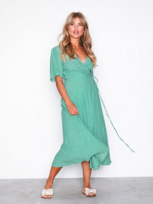 New Look Ditsy Wrap Midi Dress Green