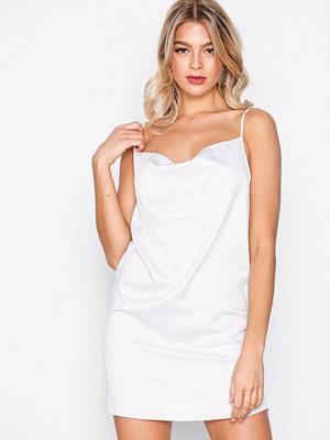 Missguided Satin Strappy Shift Dress White