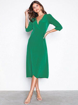 Topshop Crepe Wrap Midi Dress Green