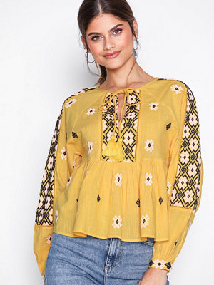 Topshop Embroidered Smock Blouse Yellow