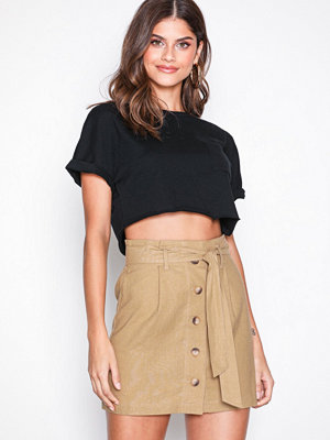 Topshop Linen Button Paperbag Mini Skirt Camel