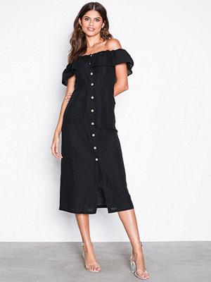 Topshop Linen Bardot Midi Dress Black