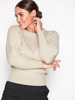 Selected Femme Slfpinna 3/4 Knit Cropped O-Neck B Ljus Grå