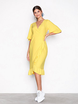 Topshop Crepe Ruffle Midi Wrap Dress Yellow