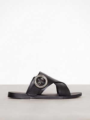 Topshop Faze Cross Strap Flat Sandals Black