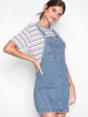 Topshop Denim Pinafore Dress Mid Blue