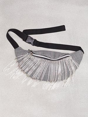 Topshop grå axelväska Check Diamante Bumbag Monochrome