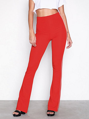 Topshop röda byxor Side Striped Flare Trousers Red