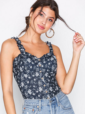 NLY Trend Bustier Top Blå Mönstrad