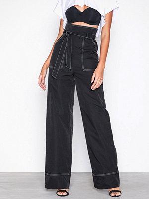 Missguided svarta byxor Contrast Tie Waist Wide Leg Trousers Black