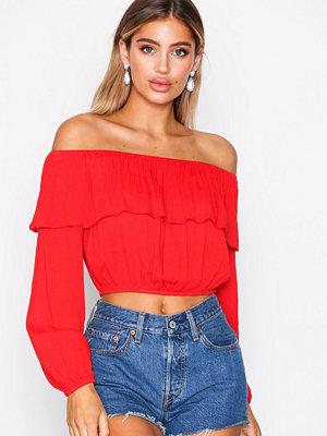 Glamorous Crinkle Off Shoulder Top Red