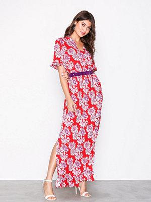 Vila Vispringflow S/S Dress /Rx Mörk Röd