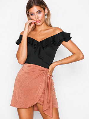 NLY One Drapy Mini Skirt Brown