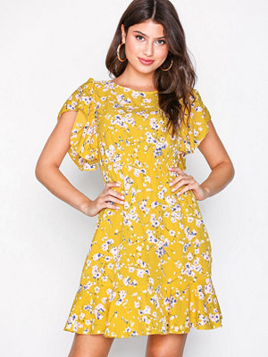 Ax Paris Waisted Mini Dress Yellow
