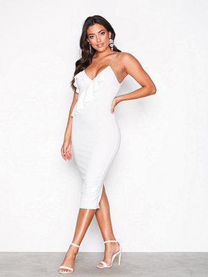 Ax Paris Strappy Frill Midi Dress White