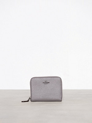 Coach Crossgrain Leather Small Zip Around Wallet Grå