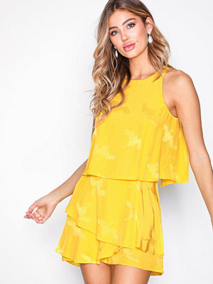 River Island SS Knot Playsuit Yellow