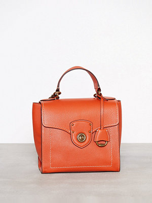 Lauren Ralph Lauren axelväska Top Handle Small Stachel Orange