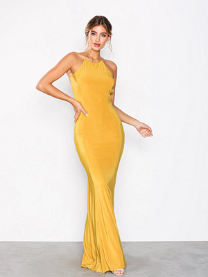 NLY Eve Ruched Back Tail Gown Gul
