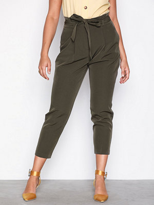 New Look omönstrade byxor Paperbag Waist Trousers Kahki