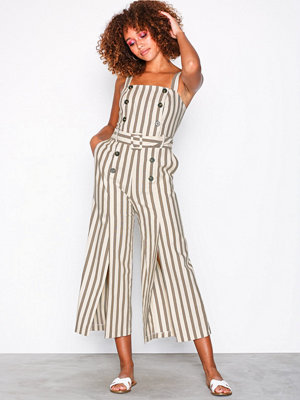 Topshop Button Striped Jumpsuit