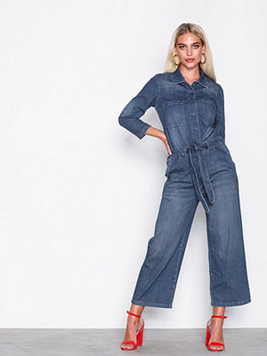 Jumpsuits & playsuits - Selected Femme Slfvictoria 7/8 Crop Denim Jumpsuit Mörk Blå