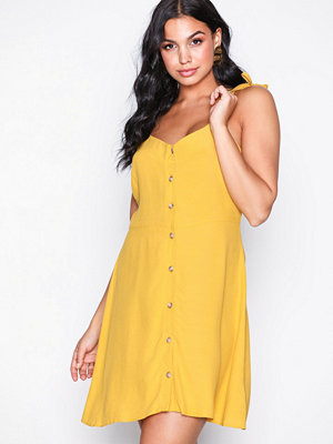 New Look Tie Strap Button Trough Mini Dress Yellow