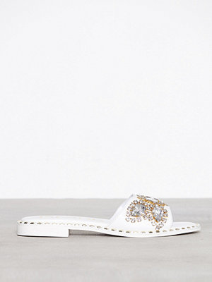 River Island Embellished Gem Slide White