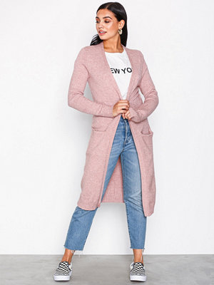 Vila Viril L/S Long Knit Cardigan-Noos Rosa
