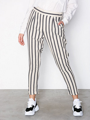 New Look vita randiga byxor Stripe Woven Tapered Trousers Offwhite