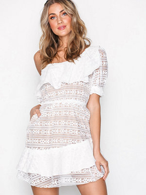 For Love & Lemons Lovebird Lace Mini Dress White