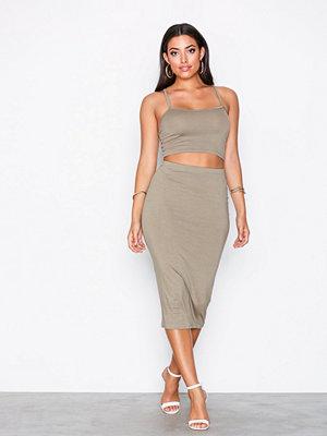 NLY One Midi Skirt Set Khaki
