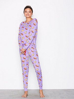 Pyjamas & myskläder - Chelsea Peers Taco Cat Long PJ set Lila