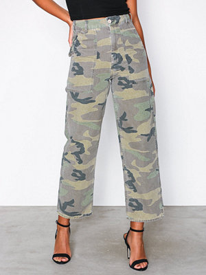 Topshop mönstrade byxor Camouflage Utility Trousers Khaki