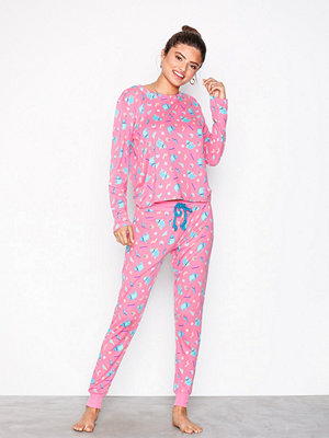 Pyjamas & myskläder - Chelsea Peers Happy Shark Long PJ Set Rosa