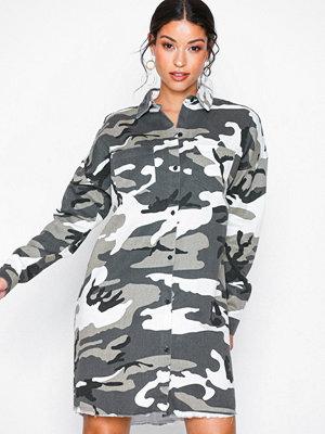 Missguided Camo Long Sleeve Shirt Dress Grey