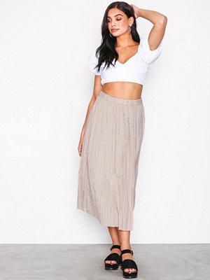 Kjolar - Selected Femme Sfshadow Mw Midi Plisse Skirt Ex Ljus Grå