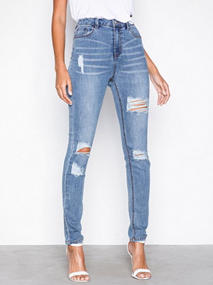 Missguided Sinner Waisted Ripped Jeans Blue