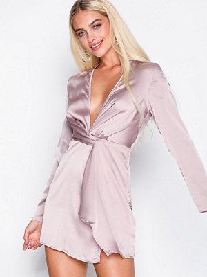 Missguided Satin Twist Shift Dress Mauve