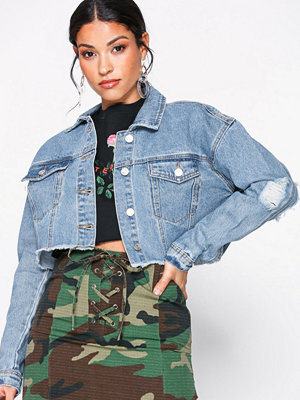 Jeansjackor - Missguided Cropped Denim Jacket Blue