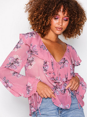 Topshop Floral Ruffle Blouse Pink