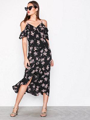 New Look Wrap Front Cold Shoulder Midi Dress Black Print