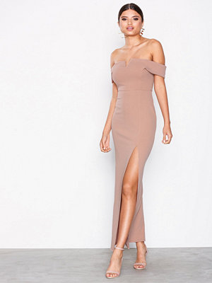 New Look Bardot Neck Split Side Maxi Dress Pale Pink