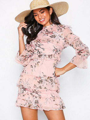 Parisian Long Sleeve Frill Dress Pink