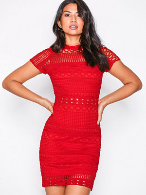 Parisian Lace Bodycon Dress Red