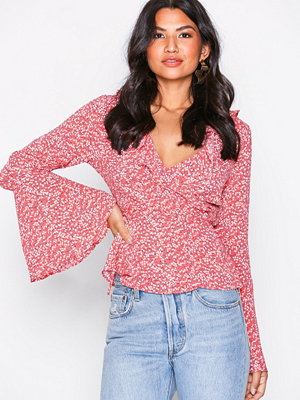Glamorous Long Sleeve Frill Blouse Coral